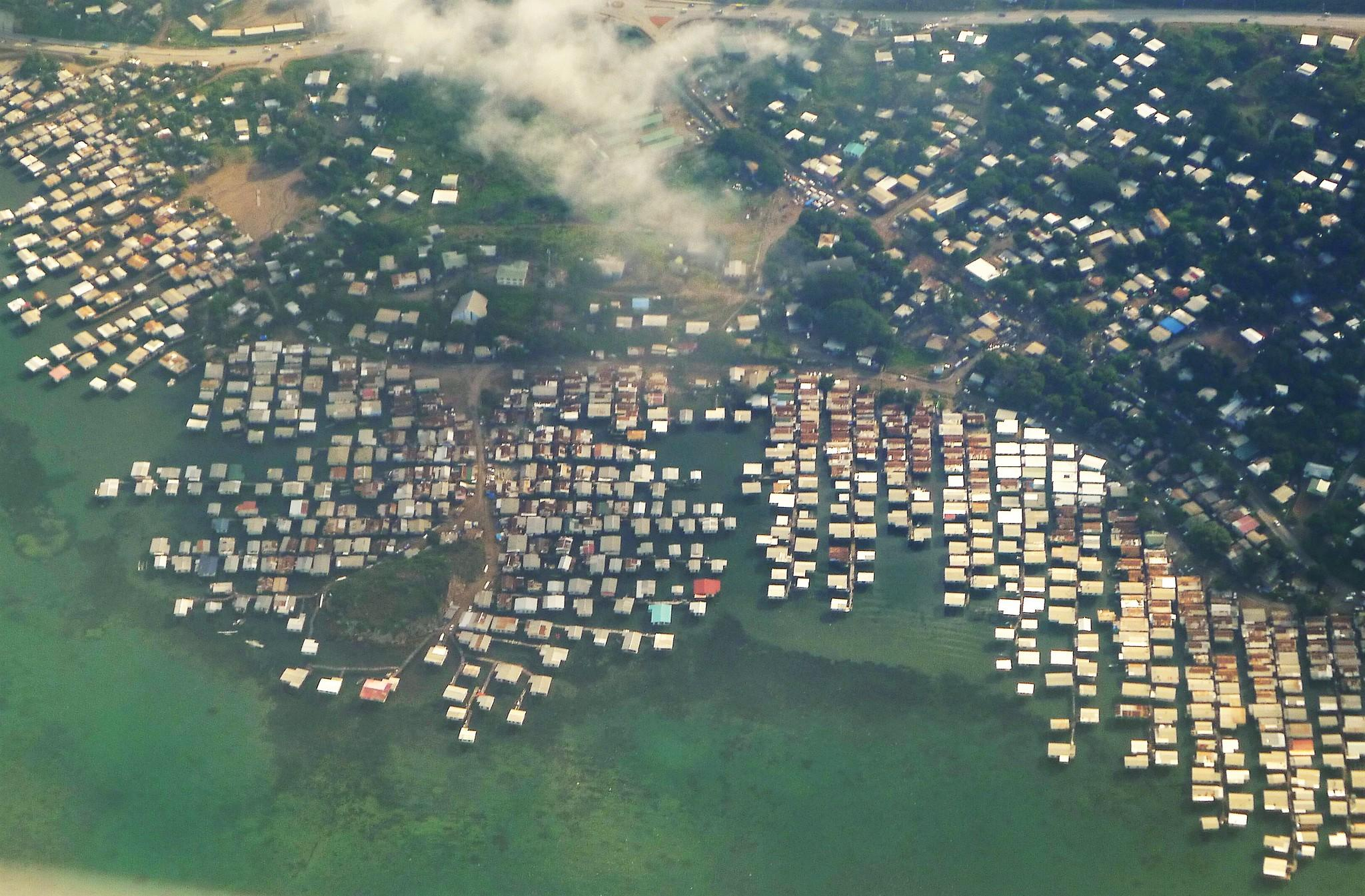 port moresby papua new guinea stilted villages aerial