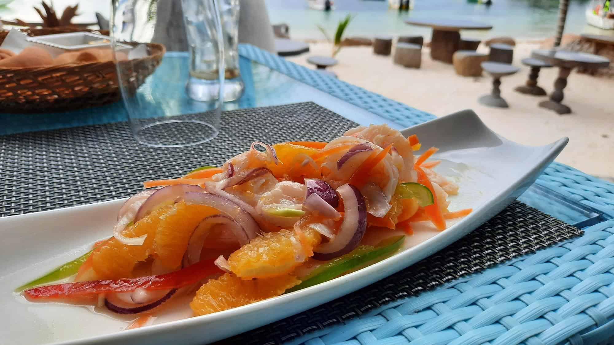 seychelles cuisine restaurants la digue seychelles shrimp salad