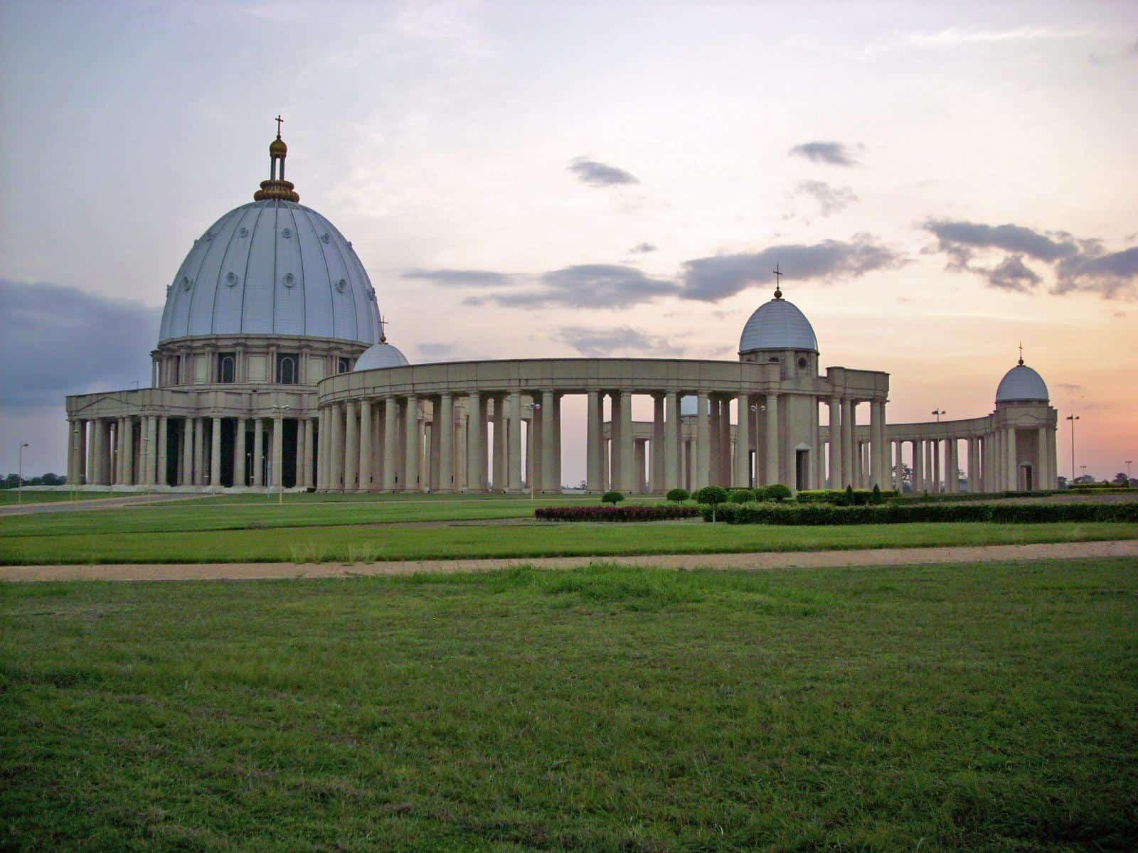 yamoussoukro ivory coast basilica of our lady of peace sunset