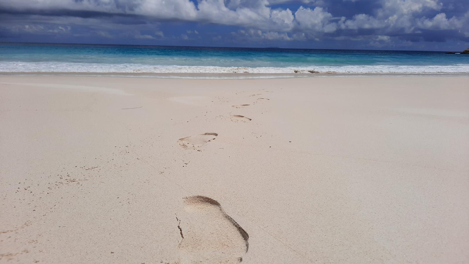 la digue seychelles petite anse footprints