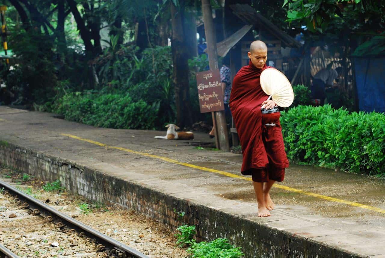 myanmar yangon circular line monk