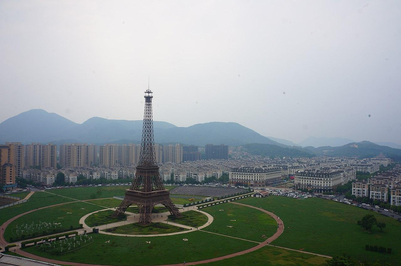 tianducheng china eiffel tower replica aerial