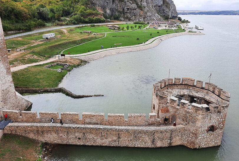 golubac fortress serbia cannon tower aerial